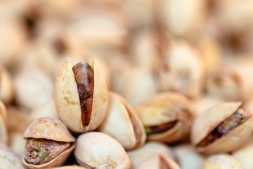 Pile of Pistachios. Out of focus background.