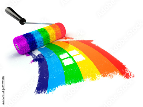 Construcrion concept.Roller brush with sign of house in rainbow - 82175520
