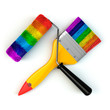 Renovation tools concept. Paint brush and roller in rainbow colo