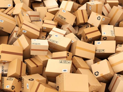 Leinwanddruck Bild Stack of cardboard delivery boxes or parcels. Warehouse concept
