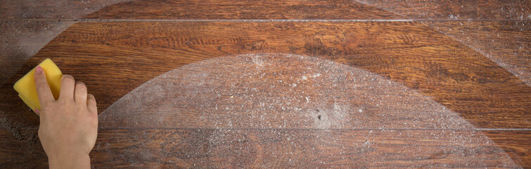 Using sponge to clean parquet