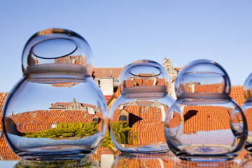 Rooftops viewed through glass jars, Malmo, Sweden