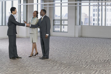 Multi-ethnic business people handshaking in empty building