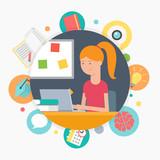 Fototapety Online education, e-learning concept, vector illustration