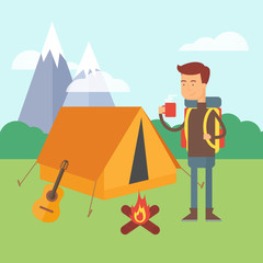 Vector illustration of a hiker standing near the tent in a fores