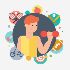Athlete, sport concept vector illustration