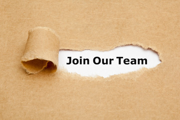 Join Our Team Torn Paper Concept