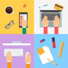Workspace, working process. Vector illustration, flat style
