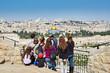 Leinwanddruck Bild - Tourists are looking at the beautiful view of Jerusalem