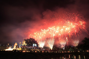 Fire works at the Royal Pavilion, Chiang Mai, Thailand.