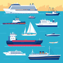 Set of flat yacht, scooter, boat, cargo ship, steamship, ferry