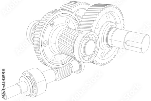 Wire-frame gears with shafts. Close-up. Vector - 82179581