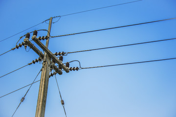 electric post and blue sky