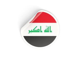 Round sticker with flag of iraq