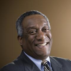 African businessman smiling