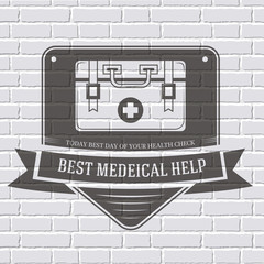 medical kit logo or label template  with blurred background on