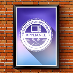 household appliances logo or label template blurred background