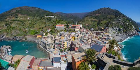Panorama view of Vernazza fisherman village in Cinque Terre, Ita