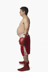Profile of overweight boxer