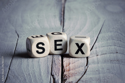 canvas print picture Word Sex written on wooden blocks. Vintage style.