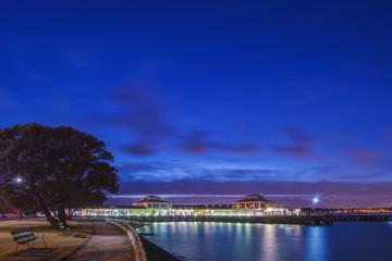 Harbor lit up at dawn