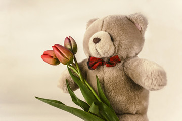 soft toy bear with flower