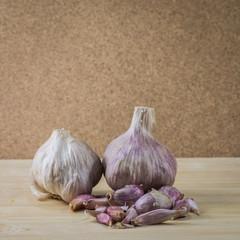Garlic on chopping board
