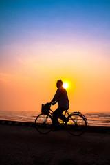 life of fishermen in sunrise on the beach, vietnam