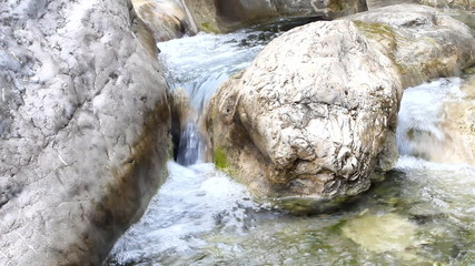 stream in  mountains during low water periods