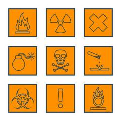 orange square black outline hazardous waste symbols warning sign