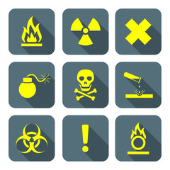 bright yellow color flat style hazardous waste symbols warning s