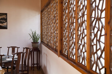 Room Interior With Wooden Ornamental Screen