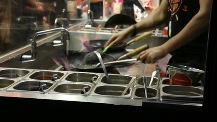 Washing pan in a fast food restaurant