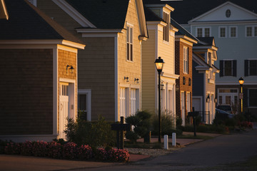Upscale Homes And Street Lights