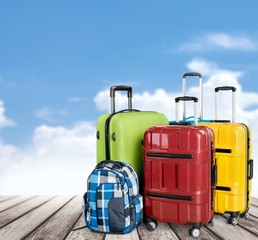 Airport. Luggage consisting of large suitcases rucksacks and