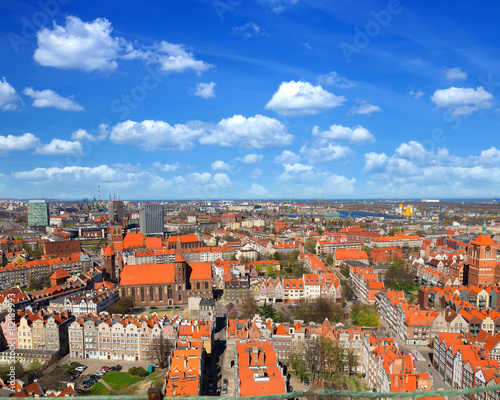 Foto op Plexiglas Japan Gdansk panorama, aerial view from cathedral tower, Poland