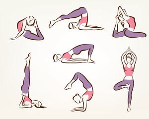 set of yoga and pilates poses , stylized vector symbols, health