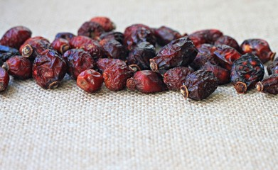 Rosehips dried herbal on table