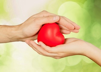 Heart. Health and charity concept - close up of woman hands