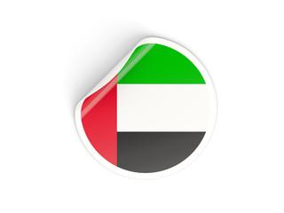 Round sticker with flag of united arab emirates