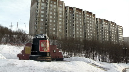 Murmansk cityscape - House and Monument submariners