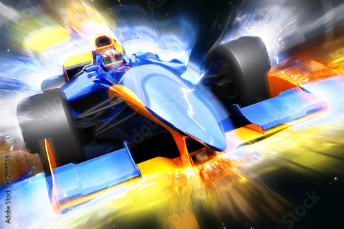 F1 bolide with light effect