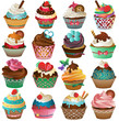 Cupcake Set Vector - 82197718