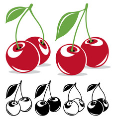Vector cherries in color and black and white