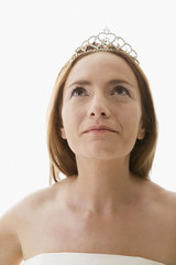 Hispanic woman wearing tiara