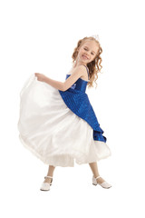 Little princess dancing in blue and white Empire Dress