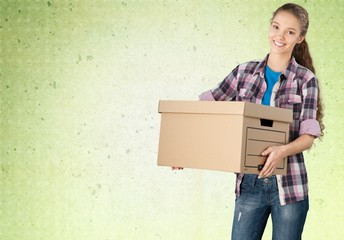 Box. Young woman holding box