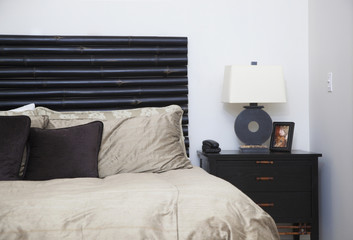Bed and bedside table