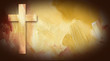 Calvary Cross graphic on painted texture background - 82203546