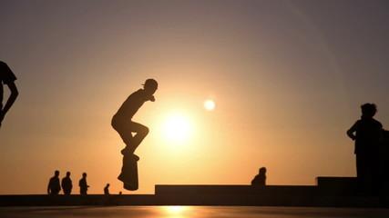 Skateboard jump artificial slow motion